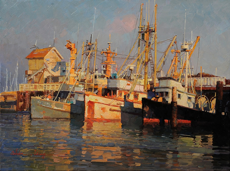 Fishing Boats in Santa Barbara Harbor by Calvin Liang