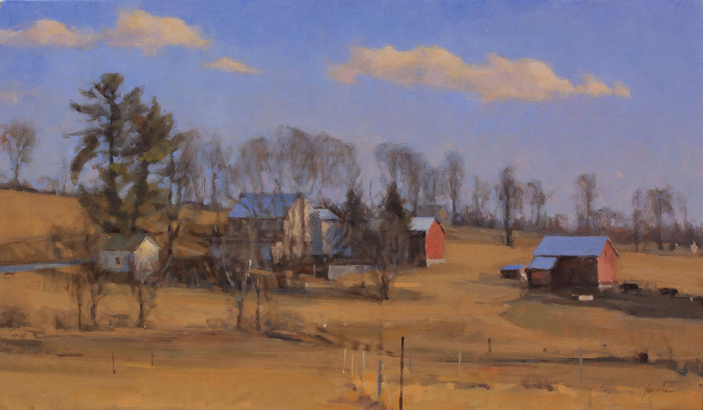 25 - Hillside Farm, February Light, 14 x 24, Oil
