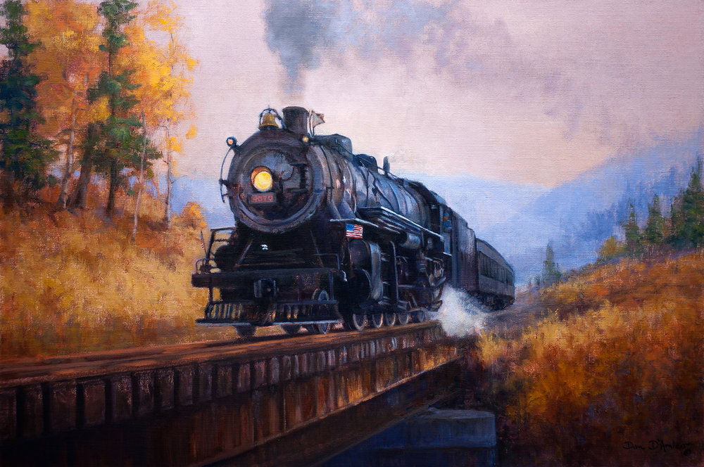 46 - Riding The Rails, 20 x 30, Oil