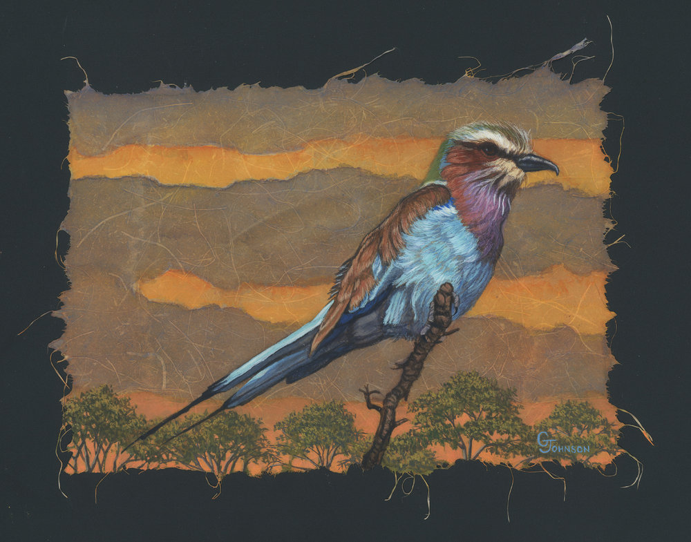 29 - Lilac-Breasted Roller, 7 x 10, Mixed Media