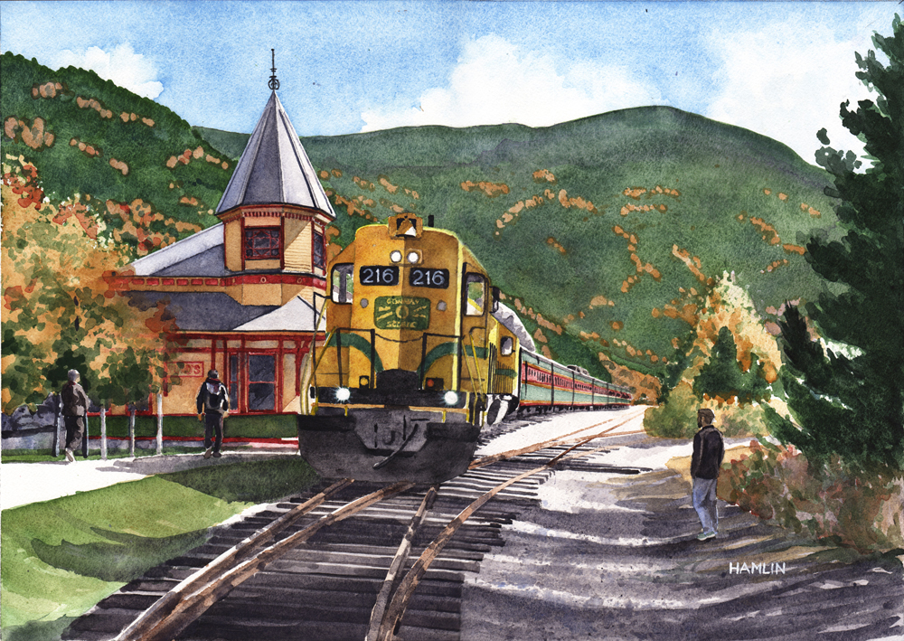 15 - CSRR 216 at Crawford Station, 14 x 19.5, Watercolor
