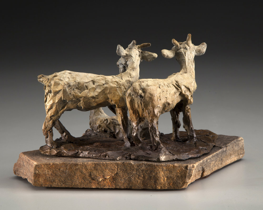 66 - We Three Goats, 5 x 10 x 8.5, Bronze