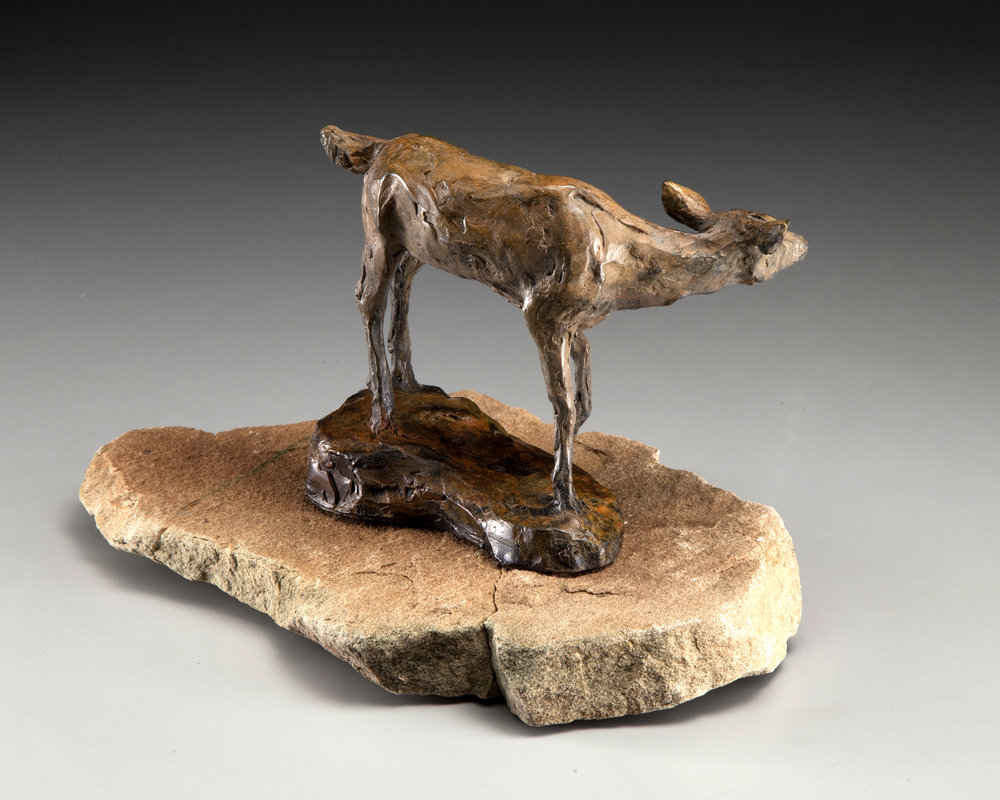 68 - Who Goes There? 7.5 x 10 x 6, Bronze