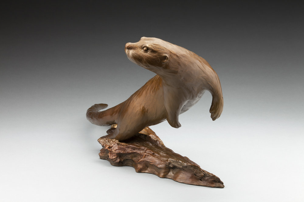 38 - Otterly Playful, 14 x 27 x 10, Bronze