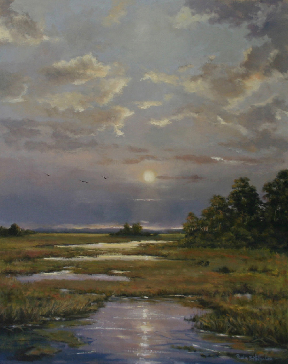 34 - Moonlit Creek, 30 x 24, Oil