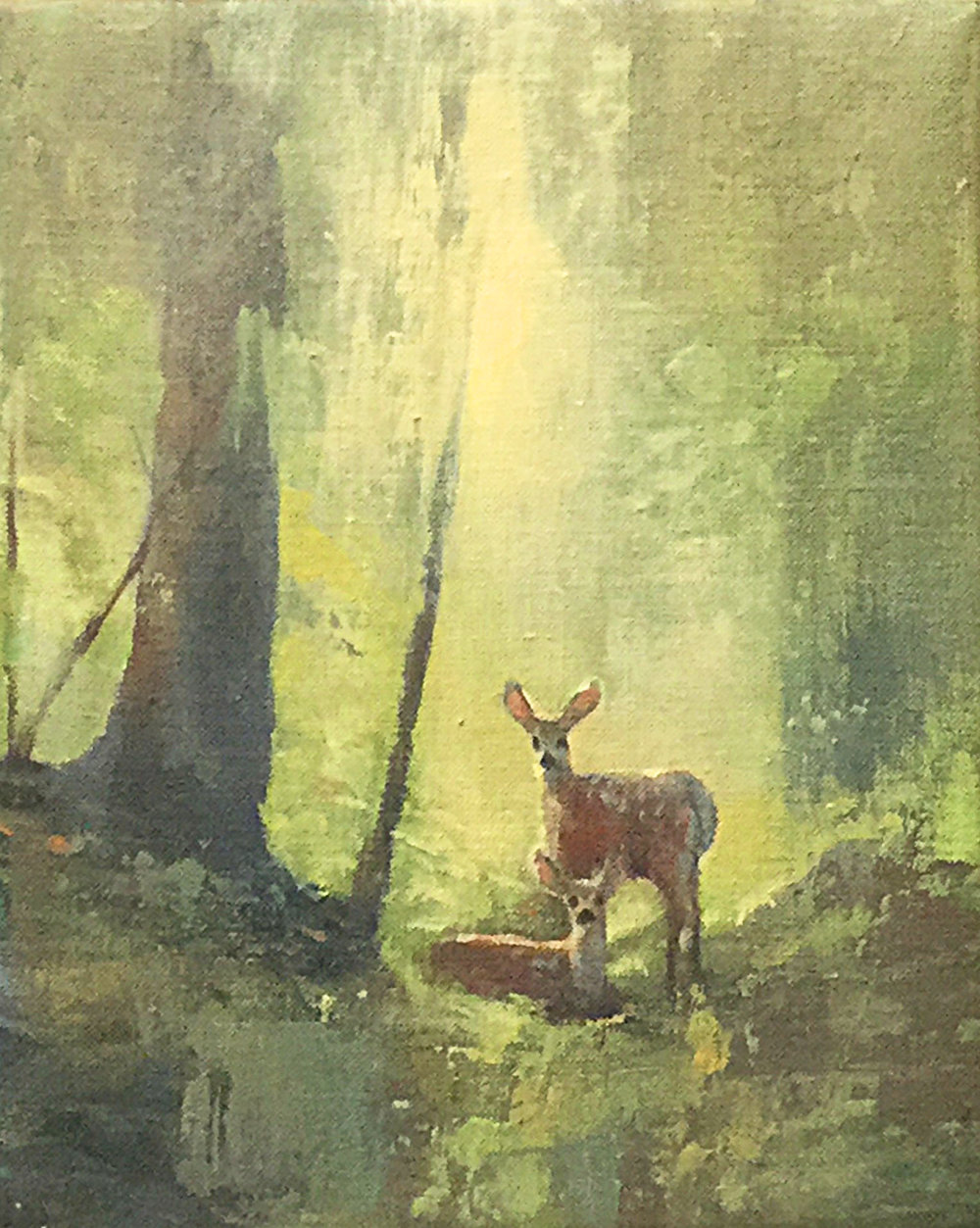 77 - Forest Deer, 10 x 8, Acrylic