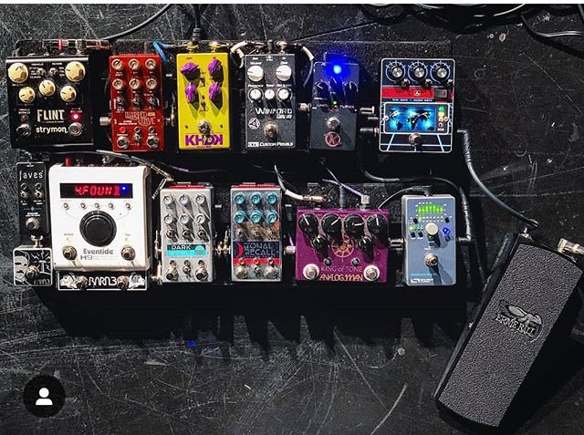 Our pal Lance from @geartalk 's pedalboard. Glad to see the #H9, #OX9 and #TeslaTap are still going strong! #eventide #barn3