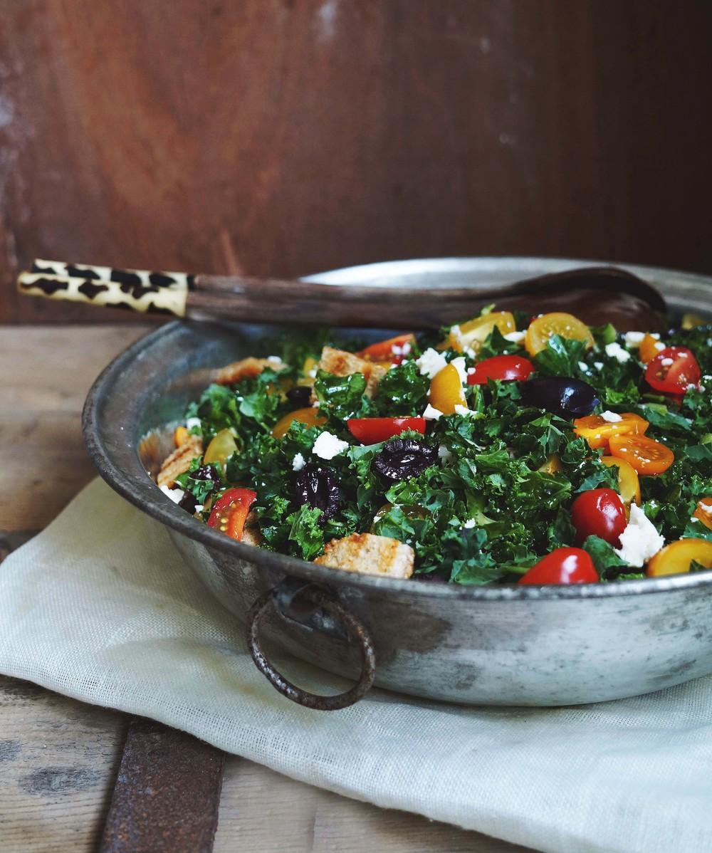 Cuisine de Clementine - boerenkoolsalade met feta-knoflookdressing