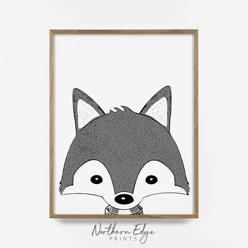 hand drawn wolf digital download