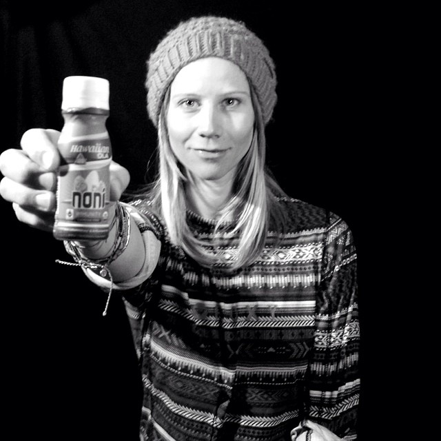 Co-Creator @kjerstibuaas drinking and sharing @hawaiian_ola #immunity in her #communitycup2014 studio interviews. #recycle #noni #rejuvenate