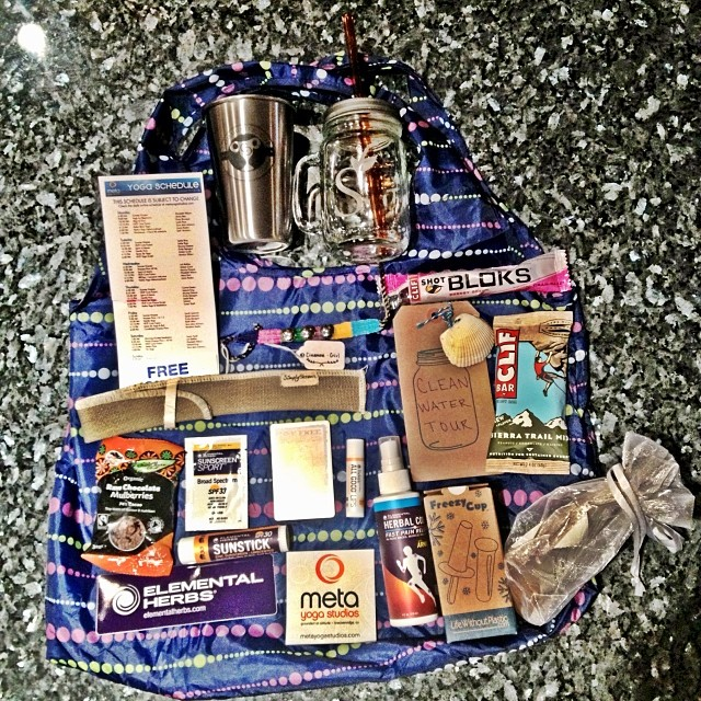 We are so proud of our #communitycup2014 Eco goody bags! Thank you #chicobags #ritualwellness organic juices  #elementalherbs #lifewithoutplastic #kleankanteen #chipotle #clifbar #metayoga studios #therawchocolatebarcompany #cleanwatertour #cinnamingirl bracelets #crystals from Steve/Kathy Whitaker #simplystraws amason mugs