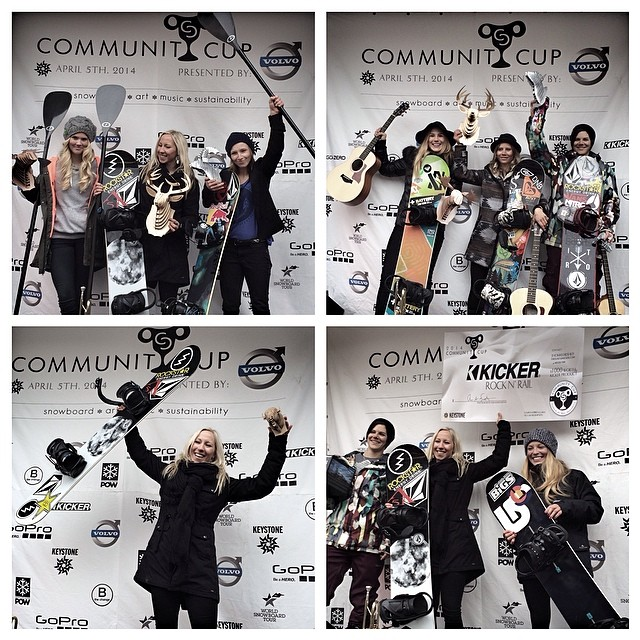 The podiums are set! Top left: Slopestyle podium. Top right: Big Air Podium. Bottom left: Best Method. Bottom right: Rock N' Rail podium presented by  @kickeraudio. Congratulations to all of the ladies!