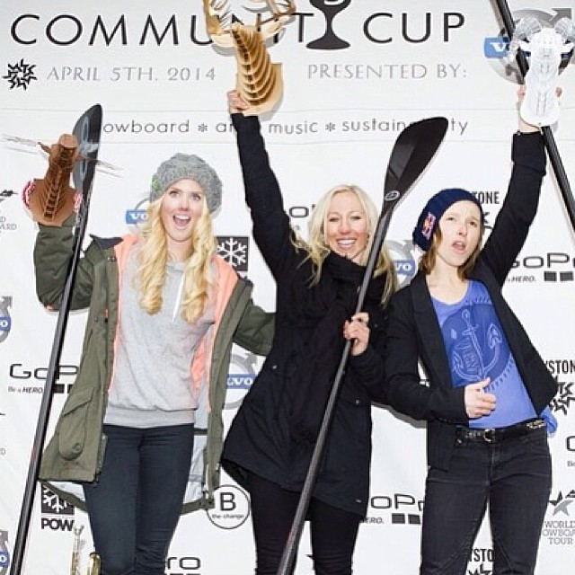 #communitycup2014 #slopestyle queens @christyprior @sarkasnow  @siljenorendal finding their way to the top! #volvo #keystonea51 #gopro #quickbladepaddles #sweettrophies #recycle #reduce #aosa 📷 @thejeffbrockmeyer