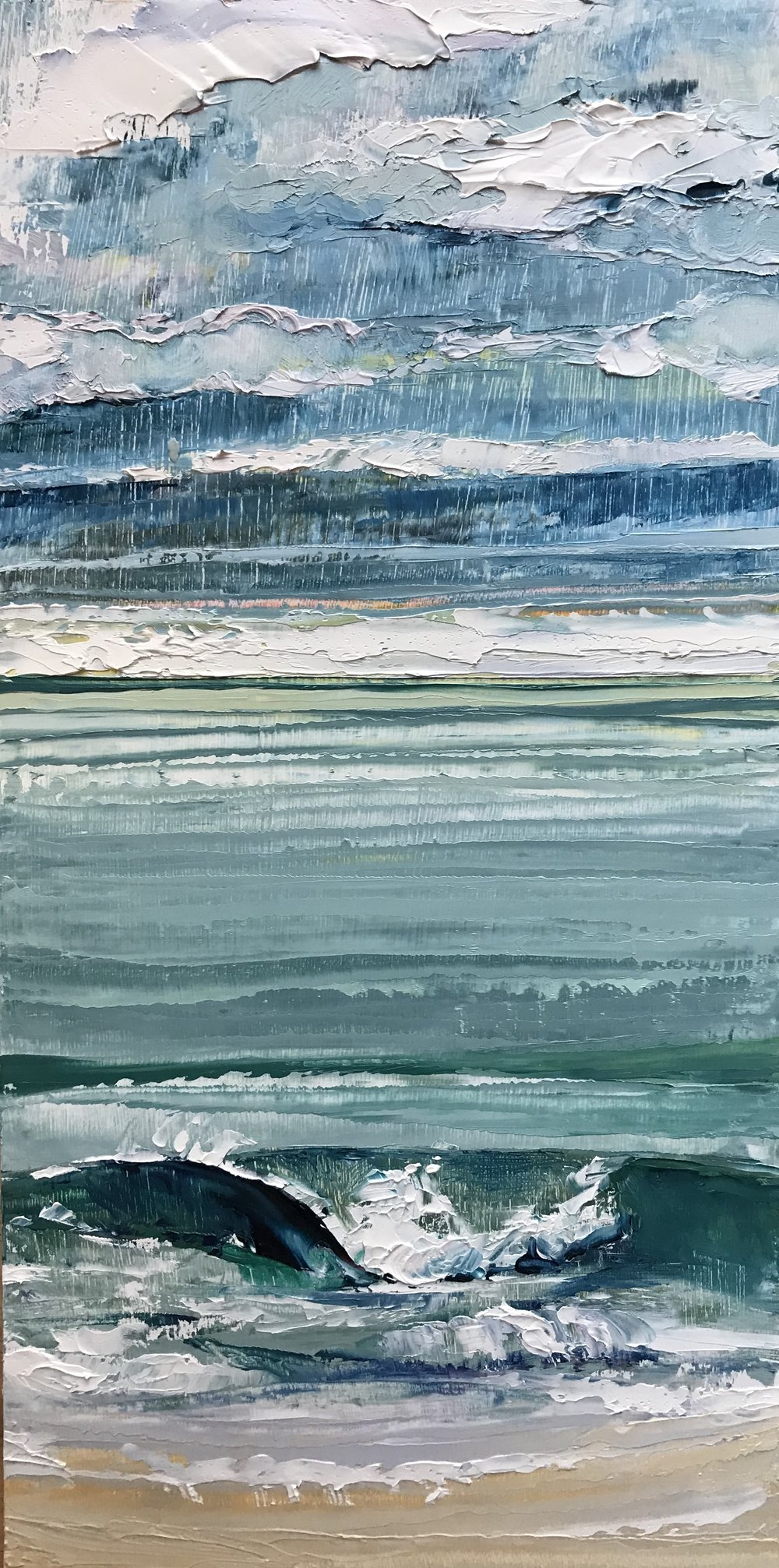 "SOLD ""Winter Break""  12x6 inch  Oil on Wood"