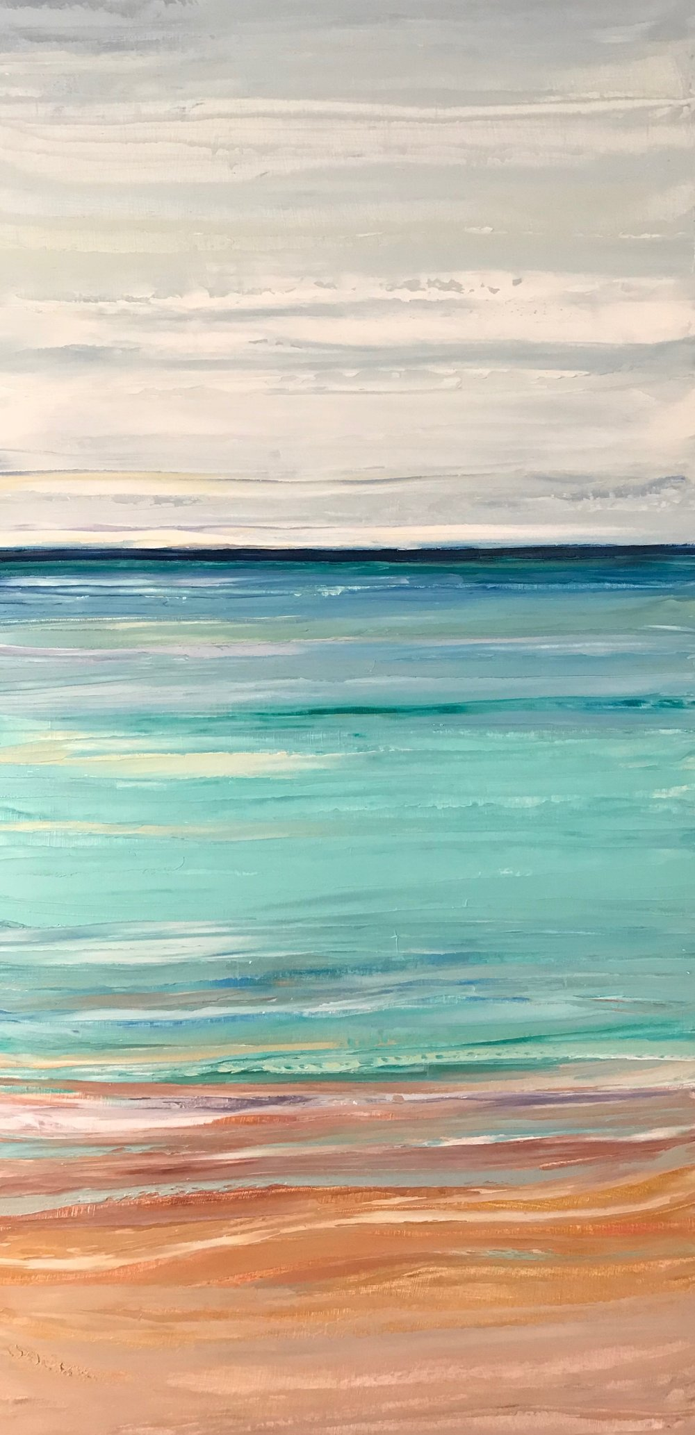 """Sea Meets Sand""  24x12 inch Oil on Wood"