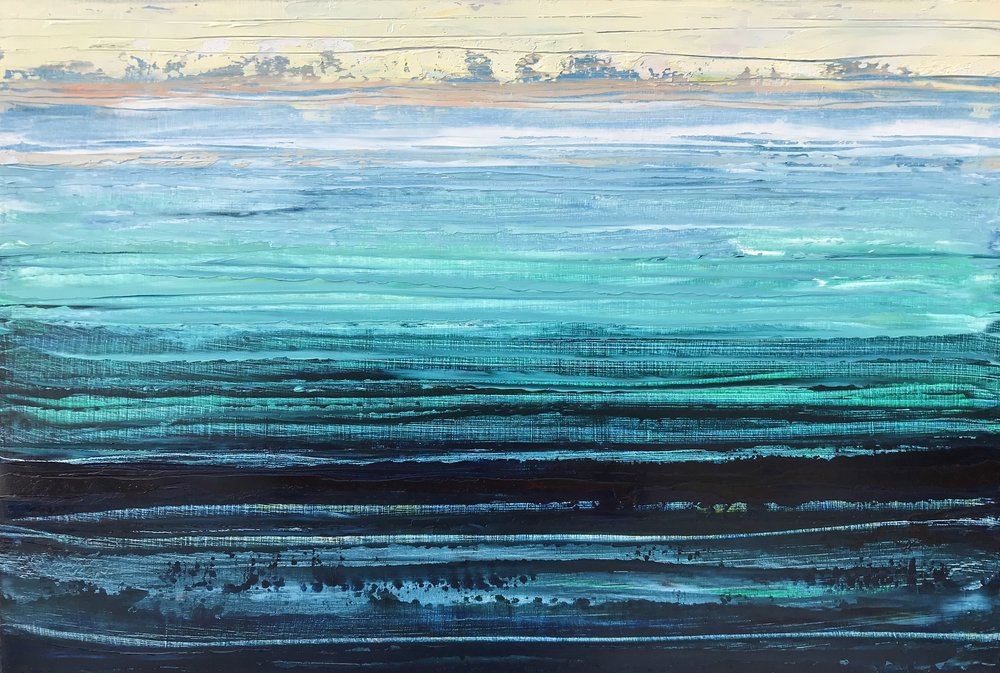 """The Ocean Blue"" 12x18 inch Oil on Wood"