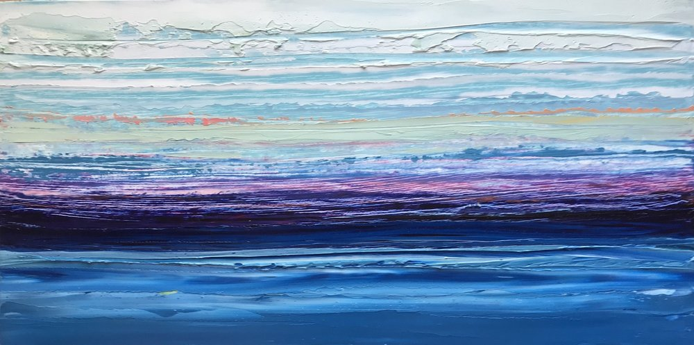 "SOLD ""Sea Meets Sky"" 6x12 inch Oil on Wood"