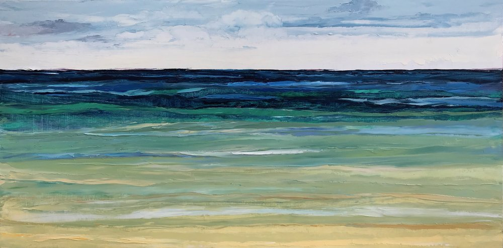"SOLD ""Tranquil Sea""  12x24 inch Oil on Wood"