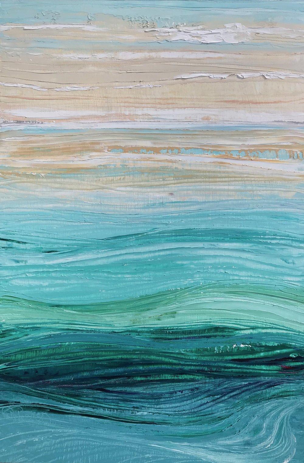 """""""Waves"""" 18x12 Oil on Wood"""