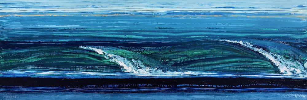 """SOLD """"Dawn Patrol 2""""-12x36 inch each Oil on Wood"""