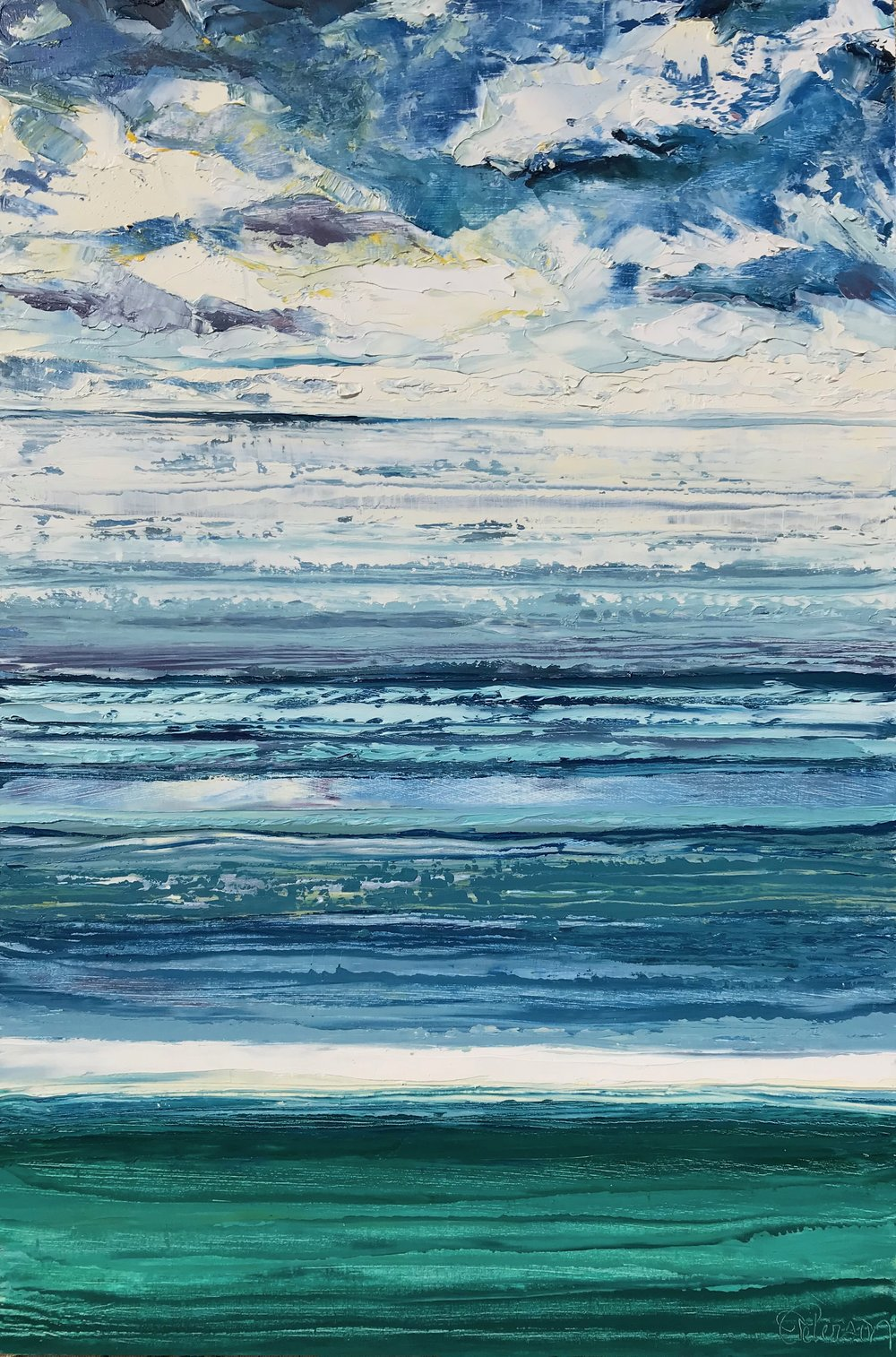 "SOLD ""Emerald Sea, Cloudy Day"" 18x12 inch Oil on Canvas"