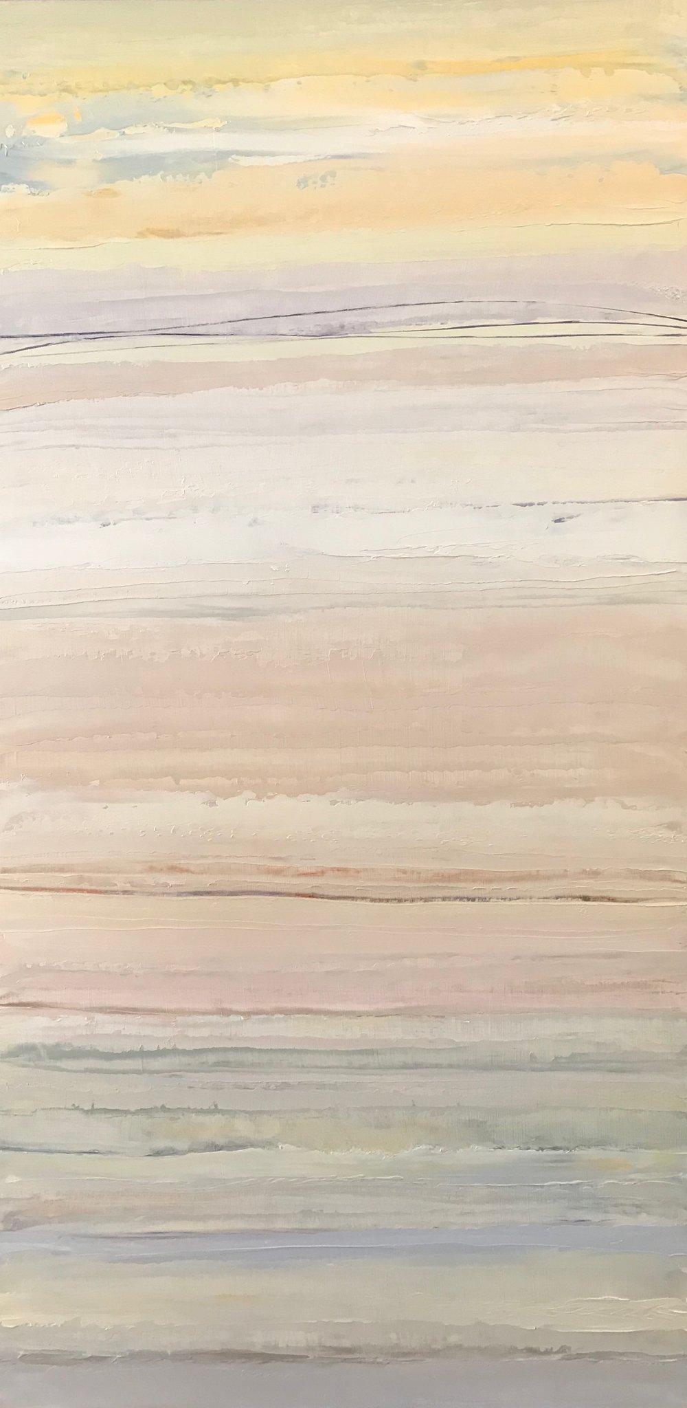 """""""Sea Mist and Sand"""" 24x12 Oil on Wood"""