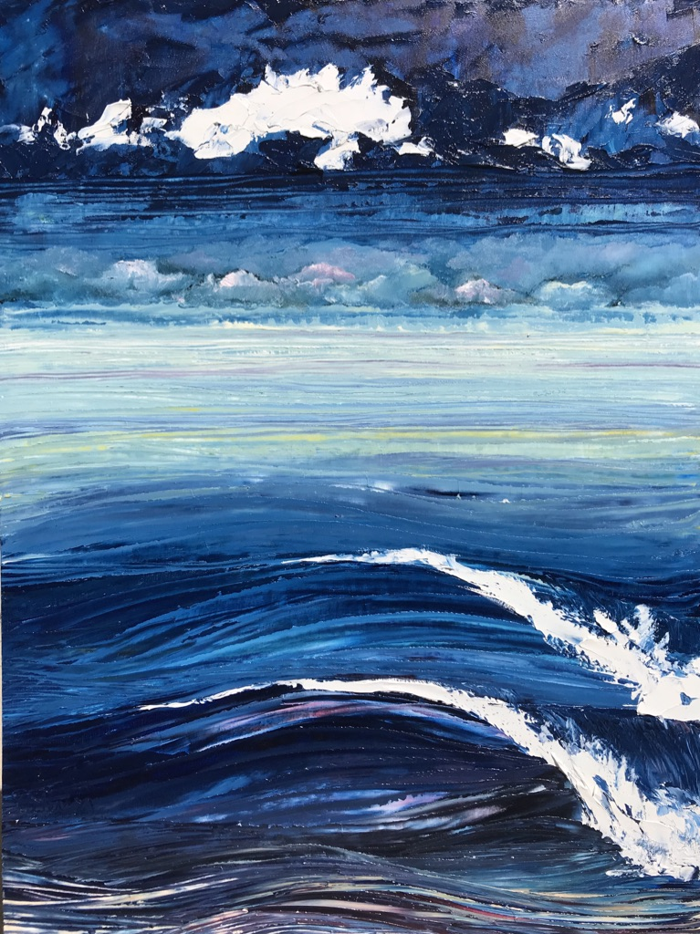 """White on Blue"" 20x16 Oil on Wood"