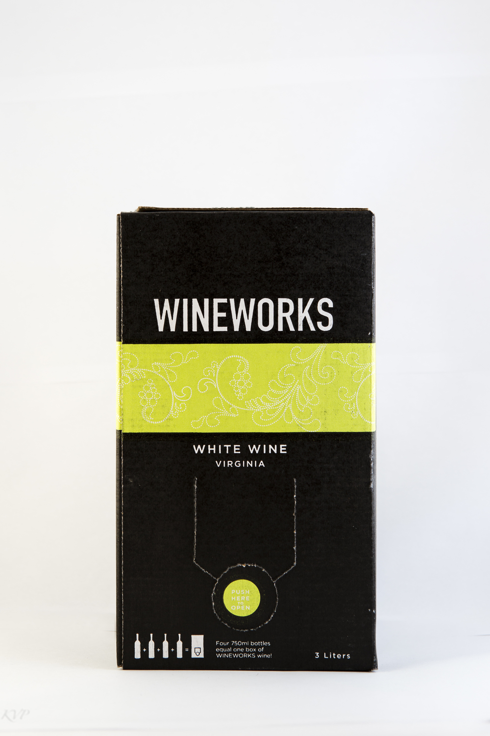 Wineworks Box White Wine  $40 This is an ever-changing blend of most of the white varieties one would encounter in Virginia such as: Petit Manseng, Viognier, Chardonnay, Vidal, Traminette, etc, etc. The style is crisp and fruity, highly versatile, and loaded with charm. Ask about our current blend.