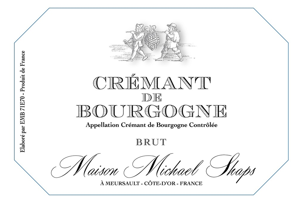 Maison Shaps Crémant de Bourgogne $35 A unique blend of all of the Burgundian varietals, Chardonnay, Aligote, Pinot Noir and Gamay, produced in classic Champenoise method. A brut style with only three grams in the dosage produces a crisp balanced style with bright acidity.