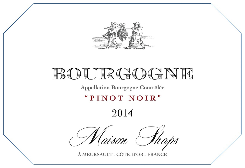 Maison Shaps 2014 Bourgogne Pinot Noir $24 Our Pinot Noir is grown at two different sites in the Haute Côte de Beaune. Both sites provide fresh fruit notes and moderate structure. We ferment the Pinot to full dryness on the skins with extended post fermentation maceration. The wine is aged in neutral oak for nine months prior to bottling. We look to bring out bright red fruits with moderate tannins.