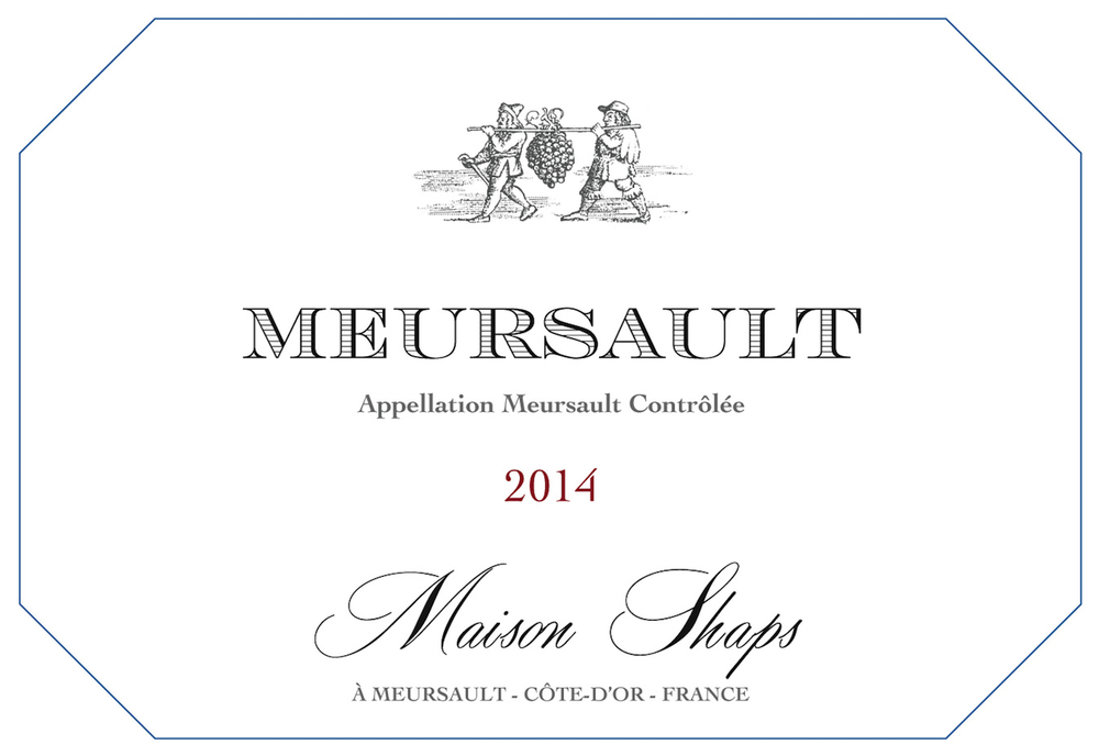 Maison Shaps 2014 Meursault $48 Grown at two different sites in the village of Meursault, the wine is barrel fermented in 25% new oak. The two different sites bring different textures to the finished wine, with classic minerality, with unctuous almond and apple notes. A slight touch of oak enhances the wine and adds to aging potential.
