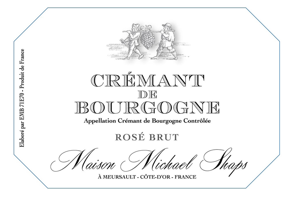 Maison Shaps Crémant de Bourgogne Rosé $35 Pinot Noir, produced in classic Champenoise method. A brut style with only three grams in the dosage produces a crisp balanced style with bright acidity and strawberry notes. Minimal skin contact during pressing only gives the wine wine it's light salmon color.