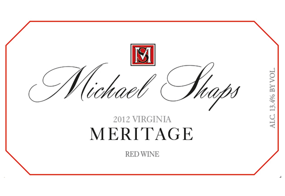 Michael Shaps 2012 Meritage $40 This vintage of Meritage is anchored in Merlot, complimented by Cabernet Franc, Petit Verdot, Malbec and Cabernet Sauvignon. The goal is always to produce a concentrated and deep wine, highly complex in both aroma and flavor, with the capacity to age for ten years or more. The blend changes with each vintage as we pull from the most successful lots to achieve this goal. It is aged for two years in all French oak, 50% of which is new.