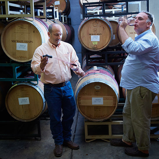 Jose Andres barrel tasting with Michael Shaps