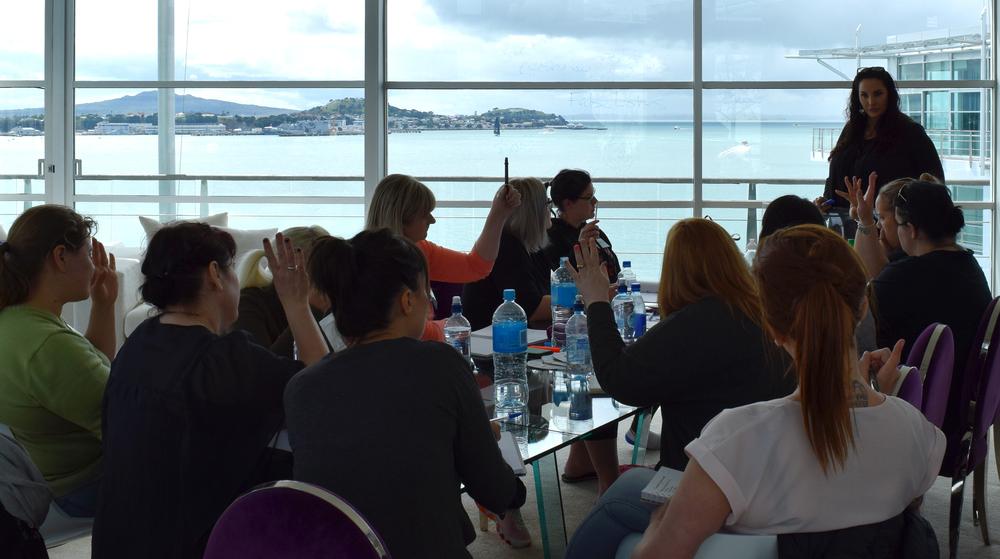Donna teaching her New Zealand Boot Camp Artists