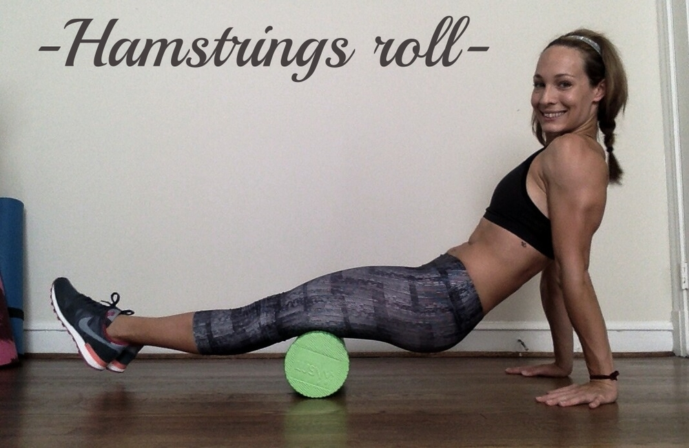 With foam roller under your knees (or just one knee) roll your body forward until the roller reaches your glutes. Then roll back and forth.