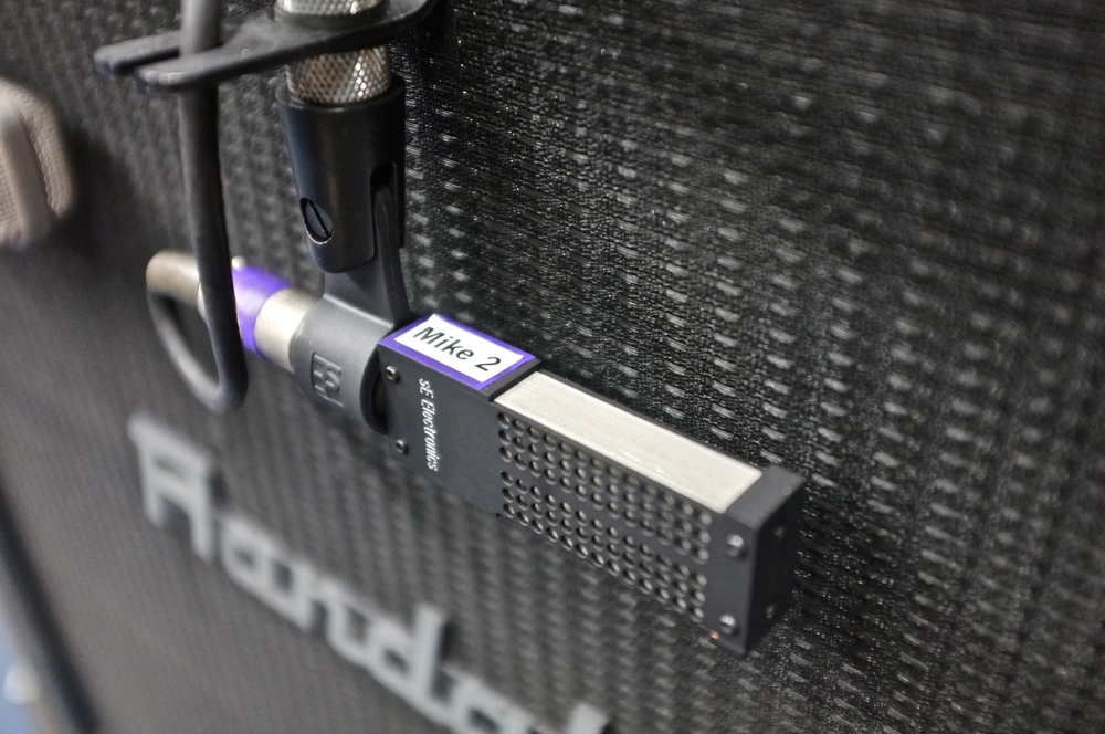 One of Linkin Park's many VR1 ribbons on a guitar cab.