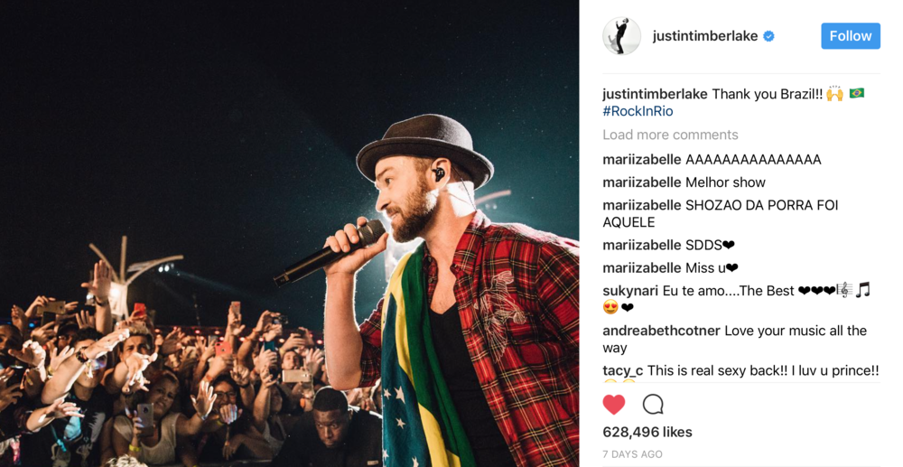 via  @justintimberlake  on Instagram