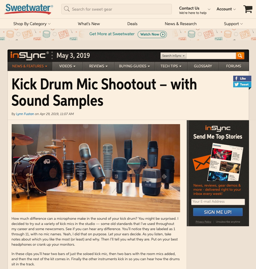 sE Electronics - Kick Drum Mic Shootout with Sound Samples @ Sweetwater