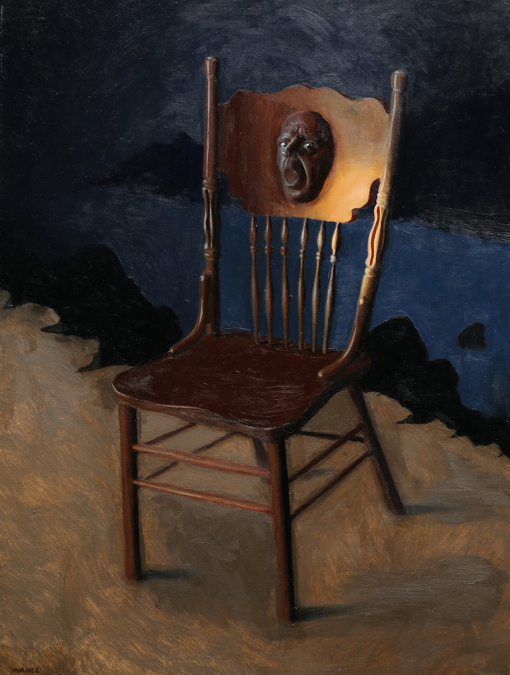 Surprise, you're a chair now  oil on linen  40 x 30 inches