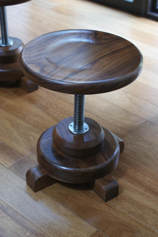 Walnut Art Desk and Stools