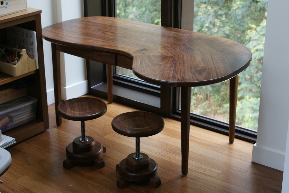 Walnut Art Desk and Stools