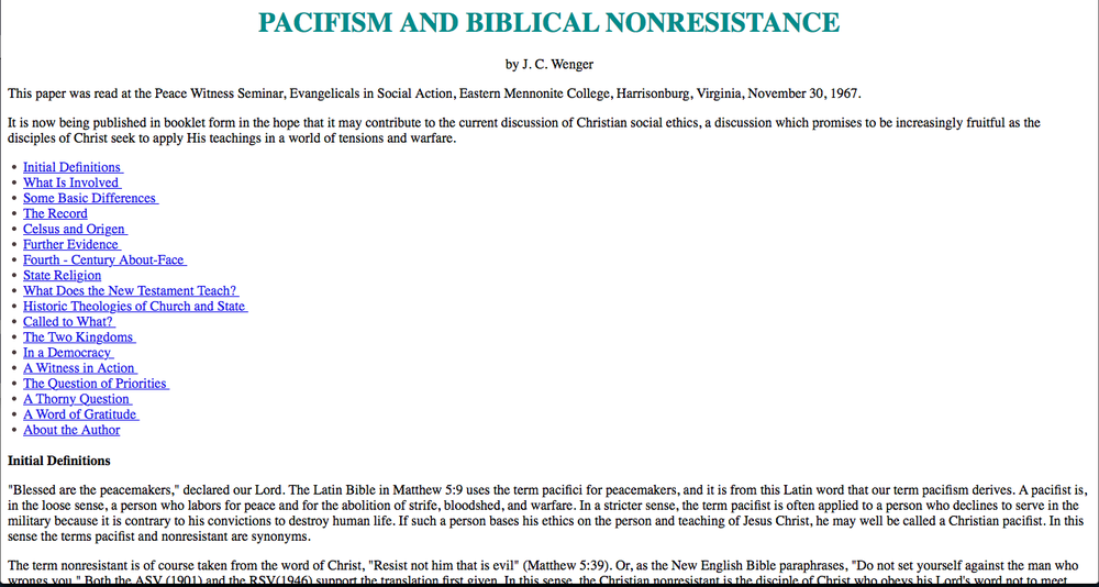 Pacifism and Biblical Nonresistance by J.C. Wenger