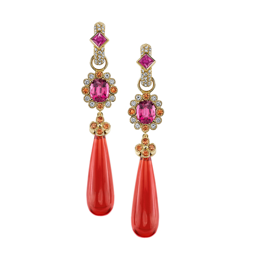 18K Yellow Gold earrings Red Rose Spinel, Fire Opal, Orange Sapphire, and Diamonds.