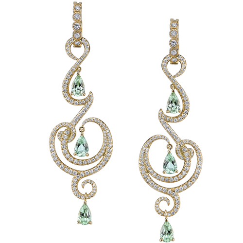 yellow gold earrings, tourmaline, diamonds