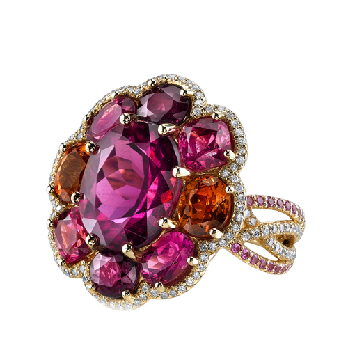 yellow gold ring, Tourmaline, Mandarin Garnet, Ruby, Pink Spinel, Rubelite, Pink Sapphire, Diamonds.