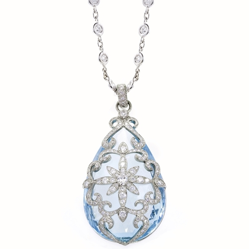 platinum pendant, aquamairne, diamonds
