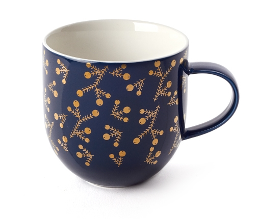 Navy berry branch simplicity tea mug - $15