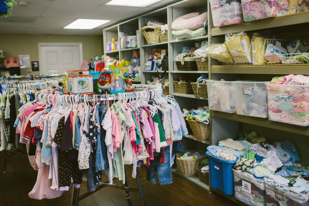 A picture of our boutique. Moms can earn the baby items by taking parenting education classes.