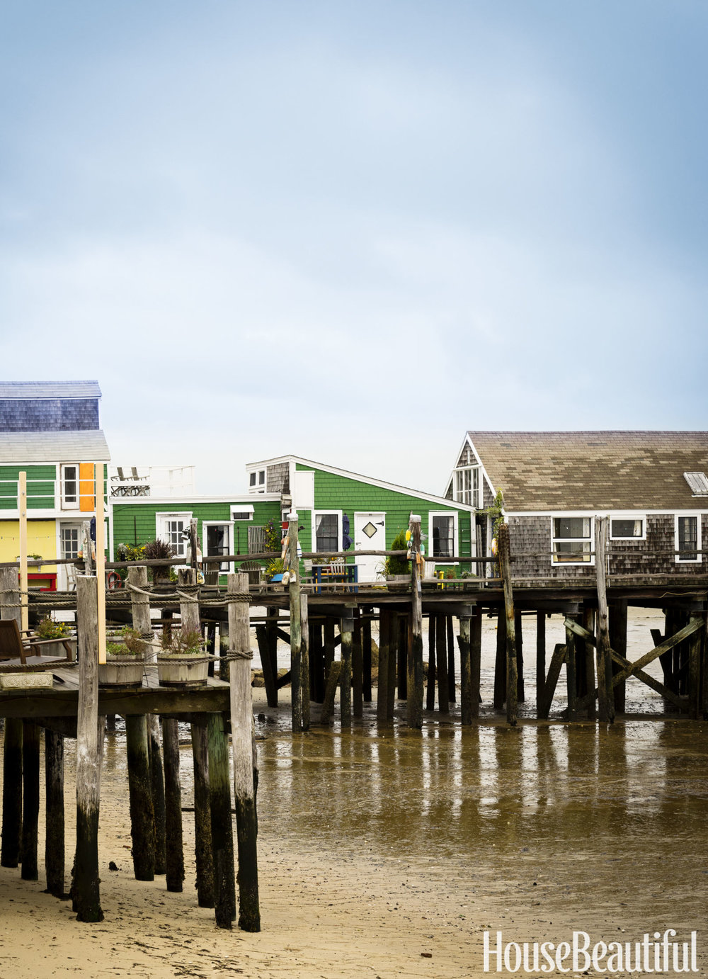 The house sits atop a pier in Provincetown.  It used to be a fisherman's shack.